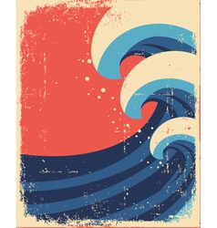 Sea waves posterGrunge of sea landscape vector image