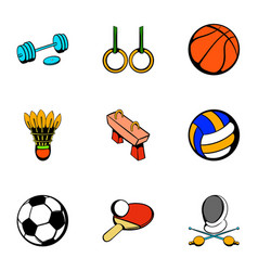 sport things icons set cartoon style vector image