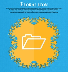 Folder Floral flat design on a blue abstract vector image vector image