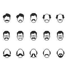 man with beard and mustache icons set vector image vector image
