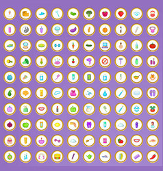 100 beauty product icons set in cartoon style vector image