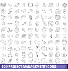 100 project management icons set outline style vector image vector image