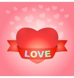 Big love heart on pink vector image