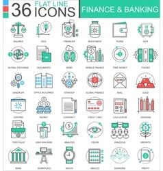 Finance and banking modern color flat line vector image