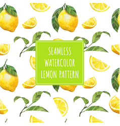 watercolor lemon seamless pattern vector image