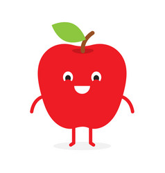 apple cute fruit character vector image