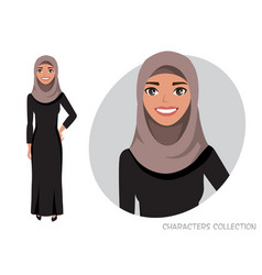 Arab women character is happy and smiling vector