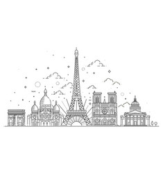 architectural landmarks of paris vector image vector image