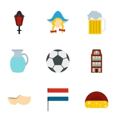 Attractions of Holland icons set flat style vector