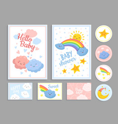 bashower abstract cute clouds heart kid print vector image