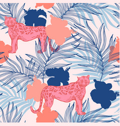 beautiful tropical print with palm leaves vector image