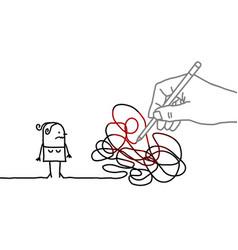 Big drawing hand with cartoon woman - tangled path vector