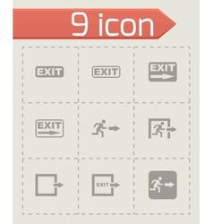 black exit icon set vector image vector image