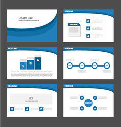 Blue wave presentation templates Infographic vector