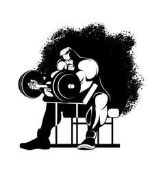 bodybuilder doing exercises vector image