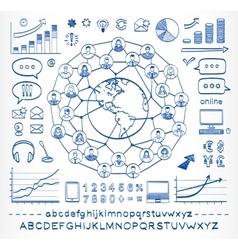 Business doodle concept vector