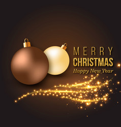 christmas golden decoration with glowing lights vector image