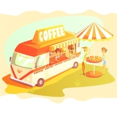 Coffee Shop Cafe In Mini Bus On Sunny Day With vector