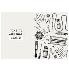 coronavirus vaccine design hand-sketched template vector image