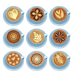 Cups of coffee set drawings on coffee crema top vector