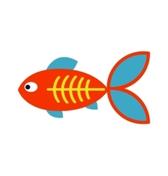 Decorative Fish flat icon isolated on white vector image