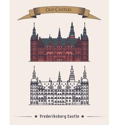 Denmark Frederiksborg old medieval castle vector