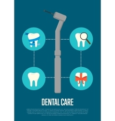 Dental care banner with dentist drill vector image
