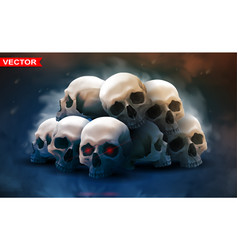 detailed graphic photorealistic human skulls vector image