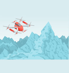 drone flying over mountain range helicopter vector image