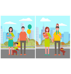Family couple with children and dog pet in city vector