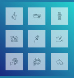 finance icons line style set with deposit startup vector image