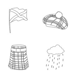 Flag kilt rainy weather capscotland country vector