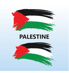 flags palestine country with paint brush vector image