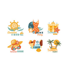 flat set of colorful summer labels beach vector image