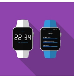 Flat smart watch with long shadow icon vector