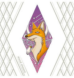 Fox tattoo hand drawn vector