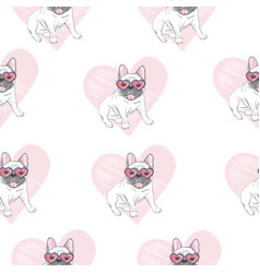 French bulldog seamless pattern dog vector