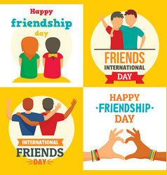 friends day banner set flat style vector image