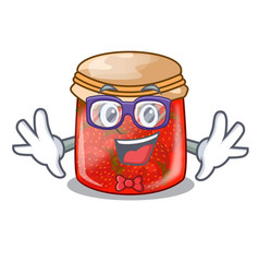 Geek strawberry marmalade in glass jar of cartoon vector