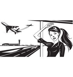 Girl waving to a plane taking off from airport vector