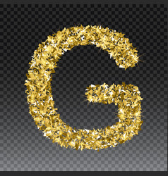 Gold glittering letter g shining golden vector