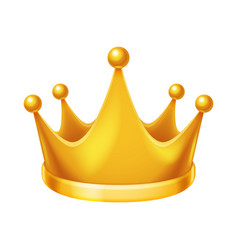 golden royal crown isolated 3d realistic icon vector image