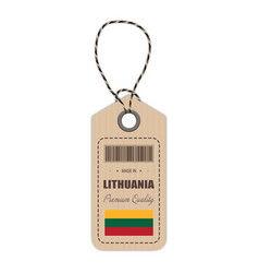hang tag made in lithuania with flag icon isolated vector image