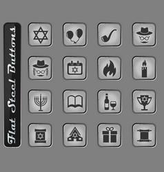 hanukkah icon set vector image