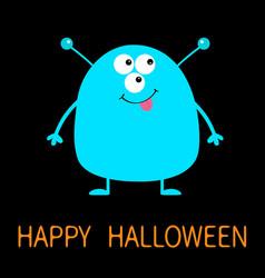 Happy halloween cute blue monster icon cartoon vector
