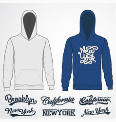 hoody fashion sweatshirt template realistic vector image
