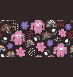 kids seamless pattern with colorful cute monsters vector image