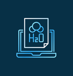 Laptop with h2o document chemistry outline colored vector