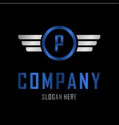 letter p automotive creative business logo vector image