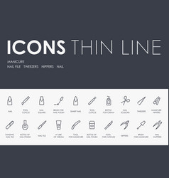 Manicure thin line icons vector